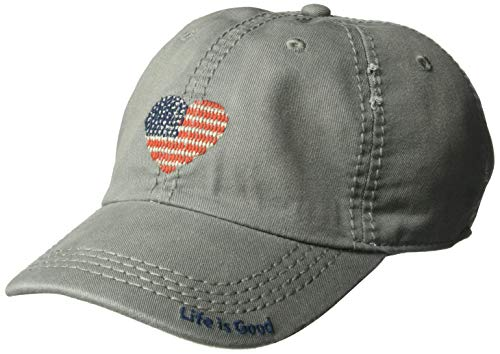 Life is Good Unisex Sunwashed Chill Cap Heart Flag, Slate Gray, One Size