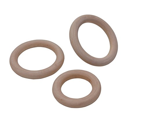 Bestsupplier 50 Pcs Unfinished Solid Wooden Rings for Craft 5 Size Ring Pendant and Connectors Jewellery Making