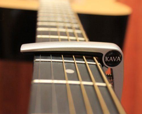 Capo for Acoustic Guitar - Aluminum Alloy - Professional Quality Trigger Style - Easy to Clamp with One Hand - Use on 6 String Electric, Acoustic and Classical Guitars, Ukelele (silver) by Kava Audio (Image #3)