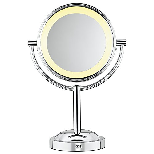 Conair Round Shaped Double-Sided Battery Operated Lighted Makeup Mirror; 1x/5x magnification; Polished Chrome Finish