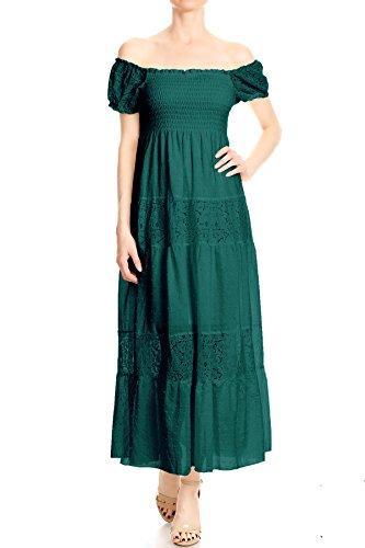 Anna-Kaci Womens Off Shoulder Boho Lace Semi Sheer Smocked Maxi Long Dress, Green, Medium