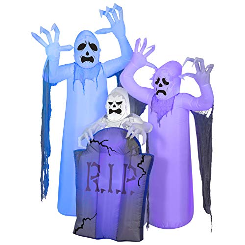 Yal Boutique Halloween Airblown Inflatable Shortcircuit Ghosts Trio with Tombstone Scene -