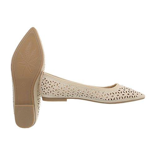 Women's Ballet Flats Block Heel Classic Ballet Flats at Ital-Design Beige 127-25 6ja4lWxRtz