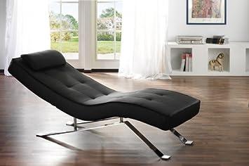 Relax Liege Schwarz Lounge Sofa Leder Design Couch Moebel Liegestuhl  Wohnzimmer