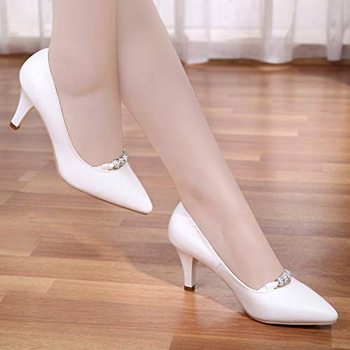 Tacón Alto Mesh Rhinestone alto De Zapatos Negro 35 De White Bajo Stiletto Yukun zapatos Net Netos Las de Mujeres Bow tacón Zapatos qPZ7CAxw