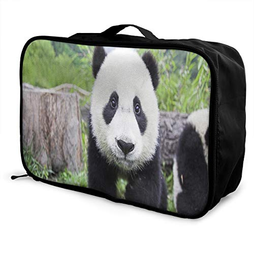 Lightweight Large Capacity Portable Luggage Bag Cute Black And White Panda Travel Waterproof Foldable Storage Carry Tote Bag