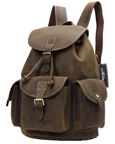 Iblue Multi Pocket Backpack Rucksack 15 Inch Mens Crazy Horse Leather Ipad Bag #8891 (dark brown)