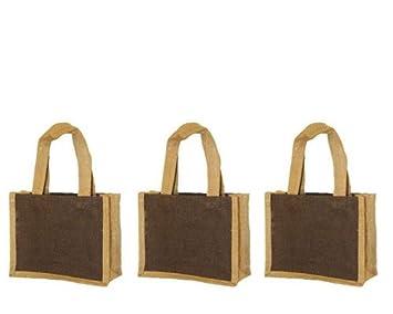 pack of 3 small gift bag with handles jute burlap bag with jute handles brown