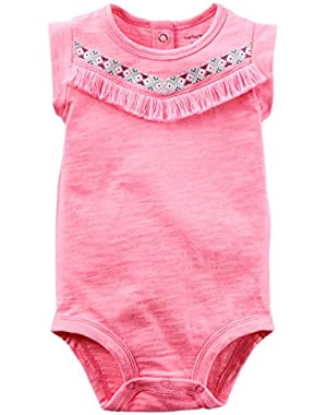 Girls Tassle Bodysuit, Pink, 6m