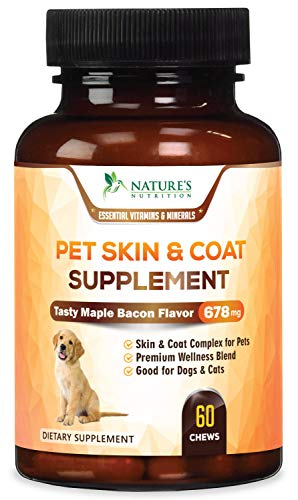 Advanced Dog Skin & Coat Supplement, All-in-One Skin & Shiny Coat Health Treats, Joint Support, Digestive Aid, Vitamins A, B1, B12, Biotin, C, E, and Minerals - Tasty Maple Bacon Flavor - 60 Chews