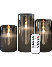 GenSwin Gray Glass Flameless Led Candles Battery Operated with Timer and 10-Key Remote, Real Wax Warm Light Candles Flickering for Wedding Festival Home Decoration (Set of 3)