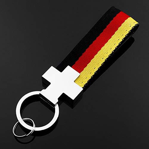 BOLLAER Car Keychain Keyring Tricolor Braid Belt Emblem for BMW Car Key, Fashion Key Rings for Audi BMW Car Keys, Best Gift for Man Woman (B) ()
