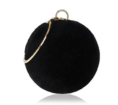 Purse Handbag Ladies Plush Bridal Prom For Party Clutch Shoulder Round Clubs Women Wedding Bag Black Gift Bag Evening IqwESxSUH