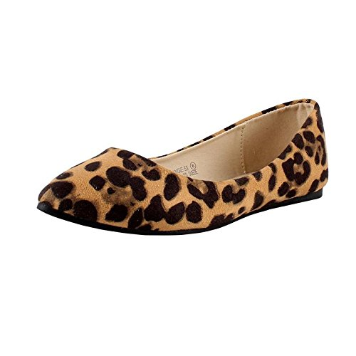 Bella Marie Angie-53 Women's Classic Pointy Toe Ballet PU Slip On Suede Flats Leopard 8.5