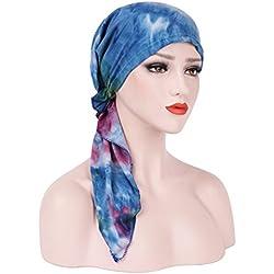 Botrong New Fashion Women Stretch Turban Hat Tie-dye Cotton Hair Loss Head Scarf Wrap (Blue)