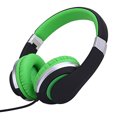 RockPapa I22 Foldable Adjustable On Ear Headphones with Microphone for Kids/Adults iPhone iPad iPod Tablets MP3/4 DVD Computer Black/Green