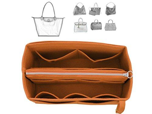 [Fits Long.champ Bags] Felt Tote Organizer (w/ Detachable Zipper Bag), Bag in Bag, Wool Purse Insert, Customized Tote Organize, Cosmetic Makeup Diaper Handbag