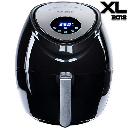 Air Fryer XL 8-in-1 By B. WEISS, (5.5 QT) Family Size Huge capacity,1800W power,With Airfryer accessories; PIZZA Pan, (50 Recipes Cook Book),Toaster rack, Cooking Divider. XXL