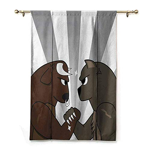 SONGDAYONE Multi-Functional Roman Curtain Cartoon Decor Collection Kitchen Curtain Image of Bull Bear Preparing to Fight Striped Background Wild Competition Clip Art,W23 x L64 Blue Peru Cream