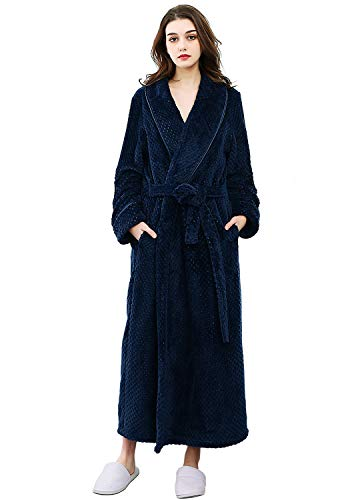 Womens Bathrobe Fleece Plush Soft Ladies Long Robes Housecoats Winter Sleepwear