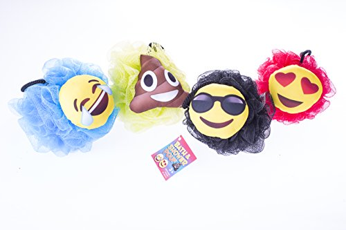 Emoji Large Shower Sponge Pouf (4 Pack + BONUS) - Bath Loofah Luffa Loufa - Mesh Back and Body Scrubber - Exfoliate, Cleanse and Soothe Skin - Fun Kids Set for Boys and Girls