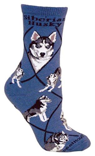 Siberian Husky Socks - Siberian Husky Dog Blue Cotton Ladies Socks