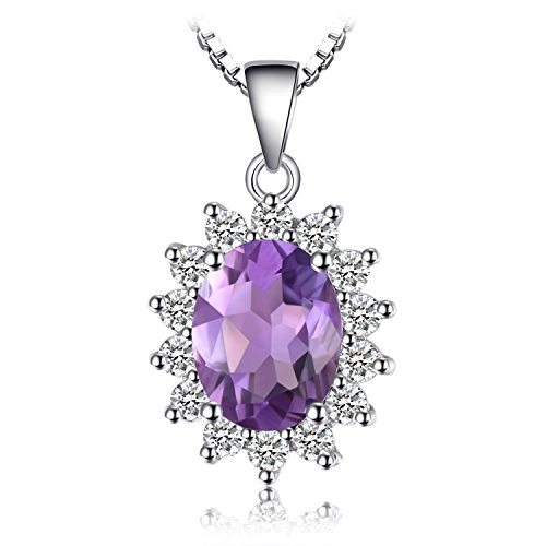 JewelryPalace 1.8ct Gemstones Birthstone Natural Amethyst 925 Sterling Silver Halo Pendant Necklace for Women Princess Diana William Kate Middleton Necklace Chain Box 18 Inches