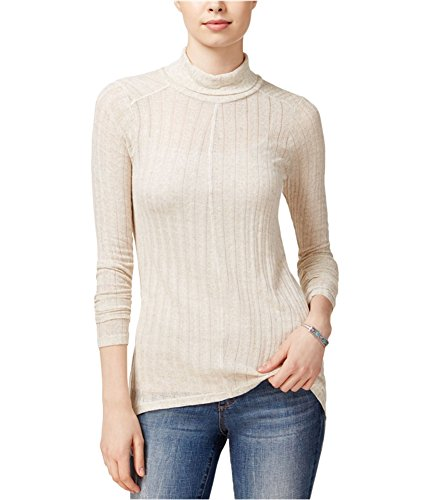 Lucky Brand Womens Linen Blend Hi-Low Turtleneck Top Beige (Linen Blend Sweater)