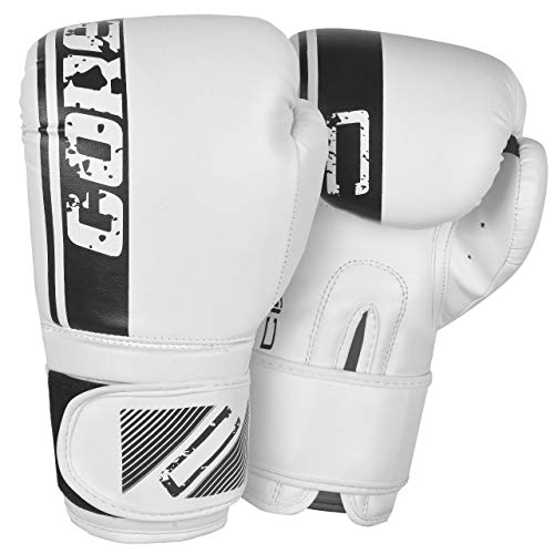 CORE Sports Boxing Gloves for Men & Women Training Sparring Kickboxing Leather UFC MMA Muay Thai Pro Punching Fight Heavy Bag Mitts (White, 8oz)