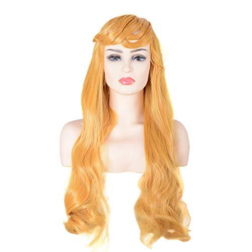 (Women Wig Princess Aurora Gold Yellow Curly Hairs Coslay)