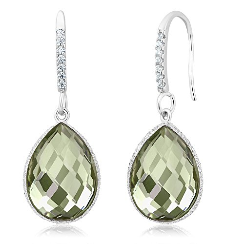 Gem Stone King 13.00 Ct Green Amethyst 16X12MM Pear Shape 925 Sterling Silver Dangle Earrings