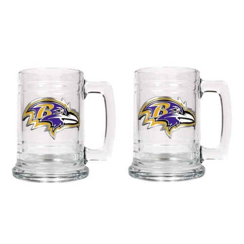NFL Baltimore Ravens Two Piece 15-Ounce Glass Tankard Set - Primary Logo