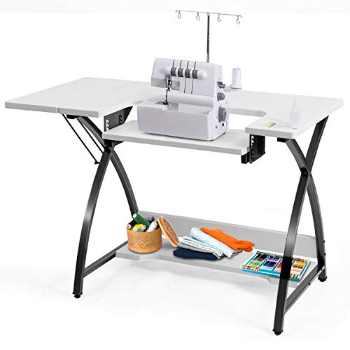 (Costway Sewing Machine Table with Adjustable Platform Folding Side Shelf)