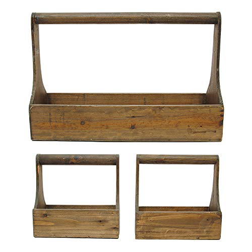 (Creative Co-Op GRD1984 Decorative Wood Planter Basket Set)