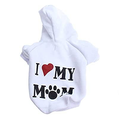 Haogo Pet Puppy Sweater I Love My Mom Printed Hooded Sweatshirt for Small Dog Pet from Haogo