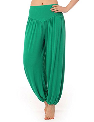 5f44f9f81a45f Galleon - HOEREV Super Soft Modal Spandex Harem Yoga/ Pilates Pants, Green,  Small