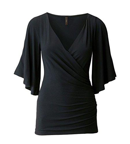 Camiseta Mujer Tops de manga corta camiseta Sin Hombro Tops Camisetas del verano Negro