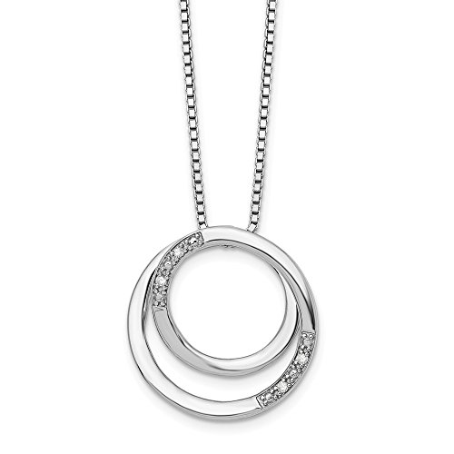 Diamond Double Circle Necklace in Rhodium Plated Silver, 18-20 ()