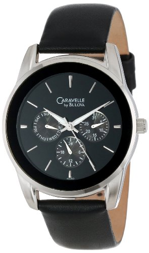 Caravelle-by-Bulova-Mens-43C109-Multifunction-leather-strap-Watch