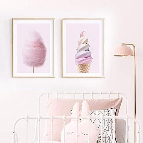 ganlanshu Pintura sin Marco Helado nórdico Rosa algodón de azúcar Lienzo póster para decoración de habitación de niña ZGQ4377 30X40cmx2