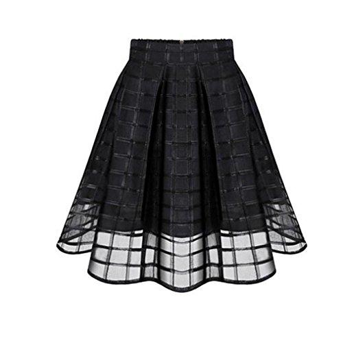 Net Skirt Women Organza Skirts High Waist Zipper Ladies Tulle Skirt Black