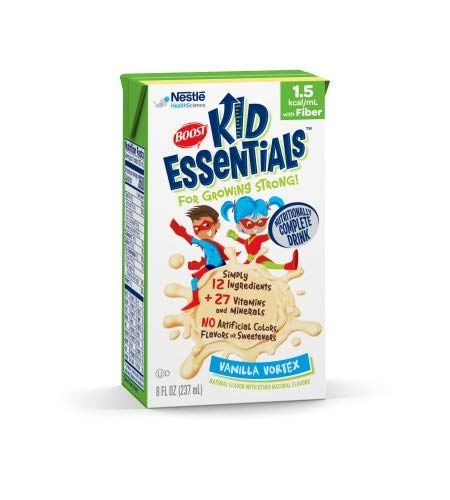 Boost Kid Essentials with Fiber 1.5 Cal, Vanilla Vortex, 8 Ounce, by Nestle – Case of 27