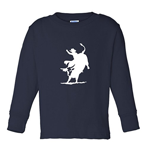 Pro Bull Rodeo - Rodeo Cowboy Bull Riding Kids Long Sleeve Cotton T-Shirt Tee Navy 4T