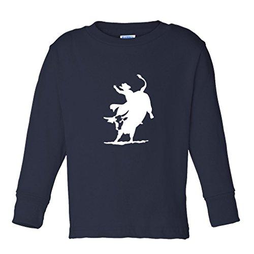 Pro Bull Rodeo - Rodeo Cowboy Bull Riding Kids Long Sleeve Cotton T-Shirt Tee Navy 4T