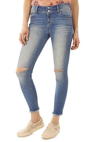 WallFlower Juniors Ultra Fray Hem Skinny Jeans In