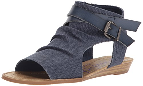 Mushroom Dyecut Women's Blowfish 6 M Pu B Canvas US Birch Balla Indigo Wedge Rancher Sandal xwB8wSqA0