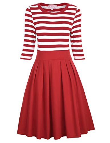 Belle Isle Dress - Belle Poque Women's Classy Scoop Neck Striped Retro Swing Dress