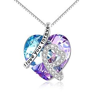 """""""Je T'aime Pour Toujours"""" Collier Coeur Argent Sterling 925 Pendentif avec Cristal – Bijoux Cadeaux Anniversaire pour Femmes Maman"""