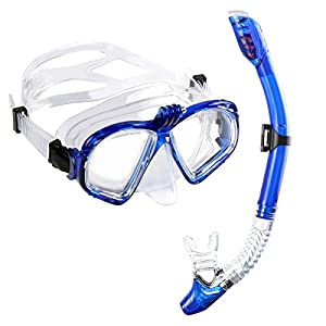 Snorkel Set, Dry Top Seaview Diving Mask, Action Camera Compatible, Anti-fog Tempered Glass Lens Panoramic with Carrying Bag