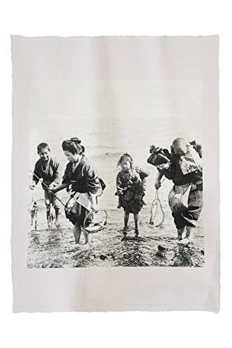 Lantern Press Japanese Mothers and Children Fishing Photograph 4939 (60x80 Poly Fleece Thick Plush Blanket)
